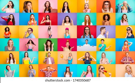 Photo collage of group video call funky cheerful excited astonished surprised people youngsters children bloggers having fun bright facial expressions isolated over multicolored background