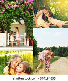 photo collage of happy smiling and laughing Children Playing, running in the field, making faces, hugging and relaxing outdoor in Summer