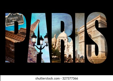 Photo collage letters PARIS, isolated on black background, vintage process