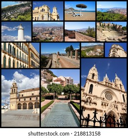 Photo collage from Malaga, Spain. Collage includes major landmarks like the cathedral, Roman amphitheatre and city hall.