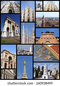 Photo collage from Milan, Italy. Collage includes major landmarks like the cathedral, castle and university.