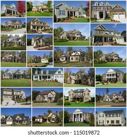 A photo collage of multiple suburban homes