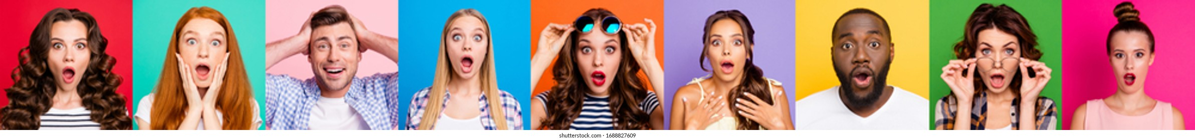 Fotocollage von neun Personen unterschiedlichen Alters und ethnischen Zugehörigkeit, die einen Schockausdruck auf Gesichter mit beigem Outfit einzeln auf mehrfarbigem Hintergrund hat