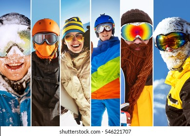 Photo collage on ski theme with different happy snowboarders and skiers. Mosaic stripes portraits