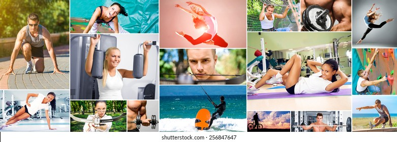 Photo collage of people sporting lifestyle