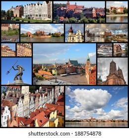 Photo collage from Poland. Collage includes major cities like Warsaw, Gdansk, Torun, Bydgoszcz, Plock and Grudziadz.