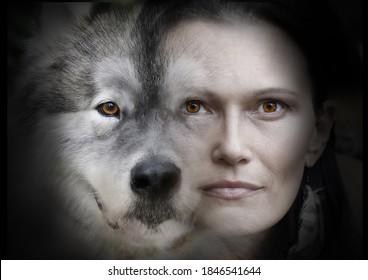 Photo collage of portraits of a beautiful woman and an Alaskan Malamute dog