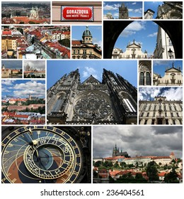 Photo collage from Prague, Czech Republic. Collage includes major landmarks like the cathedral, castle and Vltava River.
