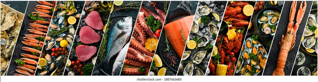 Photo collage. Seafood: Fresh fish, crustaceans and shellfish on a black background.