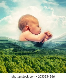 Photo collage with a sleeping baby and beautiful landscape, double exposure effect. First sweet dreams concept photo