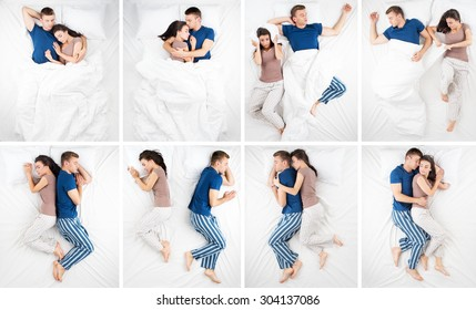 Photo collage of sleeping young couple in big white bed. Eight different emotional sleep positions. Couple hugging each other, sleeping back to back
