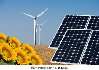 Photo collage of solar panels and wind turbin against the crops background - concept of sustainable resources