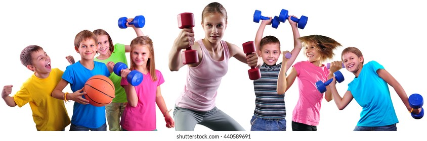 Photo collage of sport children group having training activity with dumbbells and ball. Boys and girls doing exercises.Isolated over white background.Sport healthy lifestyle concept. Sporty childhood.