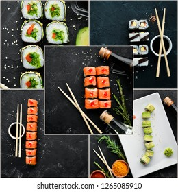 Photo collage Sushi and Rolls. Top view.