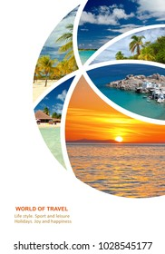 Photo collage Travel. Maldives, Caribbean, Seychelles. Traveling concept