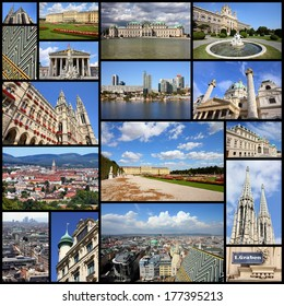 Photo collage from Vienna, Austria. Collage includes major landmarks like the cathedral, City Hall, museums and palaces.