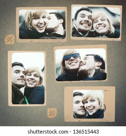 Photo collage vintage album couple in love smiling laughing and posing man and woman