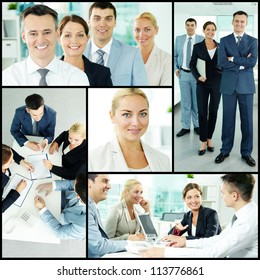 Photo collection of successful businesspeople working in team