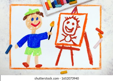 Photo of colorful drawing : Artist painting a portrait. Painter and picture on easel