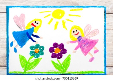 Photo of colorful drawing: Charming fairies and flowers. Magical land