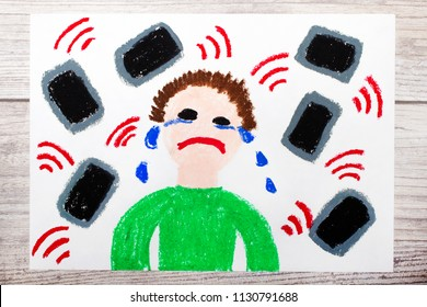 Photo of colorful drawing: Crying boy surrounded by phones or tablets. Danger of social media