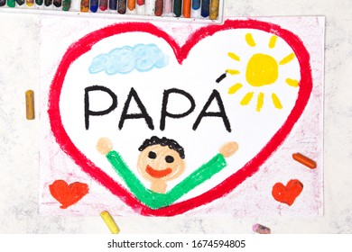 Photo of colorful drawing: Italian lanquage, Father's day card. Happy father in a big red heart
