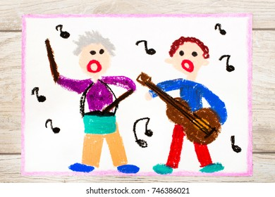 Photo of colorful drawing: People singing and playing instruments