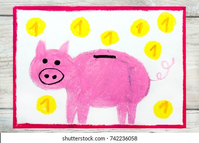Photo of colorful drawing: Pink piggy bank and coins.