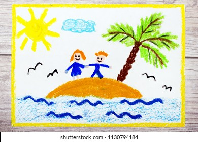 Photo of colorful drawing: Smiling couple on a small island in the ocean,  vacation under the palm tree