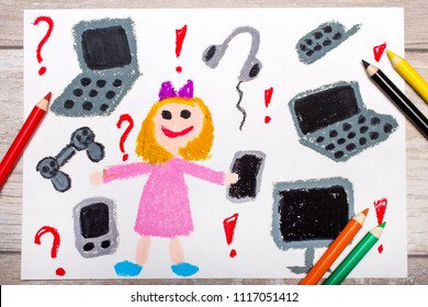 Photo of colorful drawing: smiling little girl surrounded by electronic devices, phones, computers and tablets