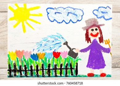 Photo of colorful drawing: Smiling woman watering flowers in the garden