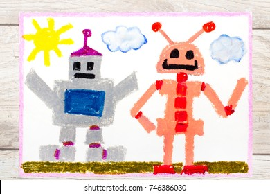 Photo of a colorful drawing: Two different robots