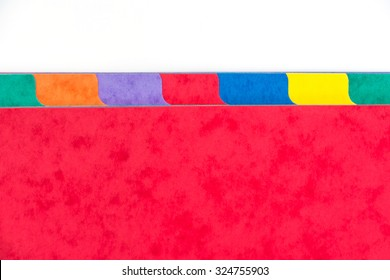 Photo of colorful folder dividers with copy space, white background