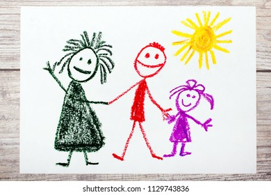 Photo of colorful hand drawing: Happy family. Mother, father and daughter.