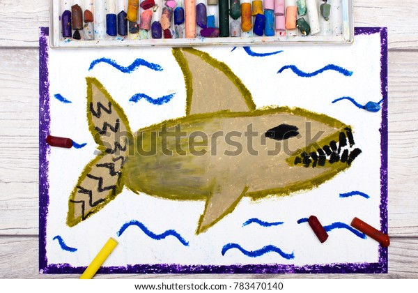 Photo of colorful hand drawing: Scary sea monster, shark