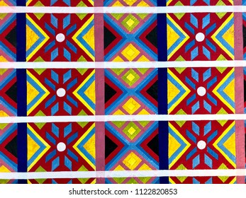 Photo of colorful Mexican geometric pattern.