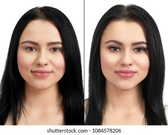 Photo comparison of normal and enlarged lashes. Take the difference between lashes before extension and after. Girl with long lashes and with short. Salon lashes extension for pretty brunette girl.