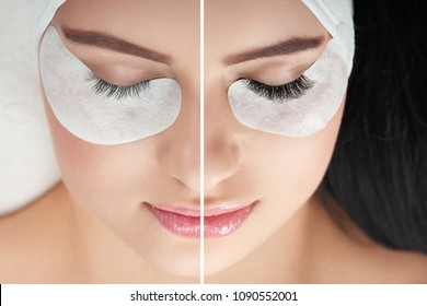 Photo comparison of normal and fake cosmeticly enlarged lashes. Client lying on special coach wearing headbandage for lashmaking. Having black hair. Loving beaty procedures in salone. Pretty face.