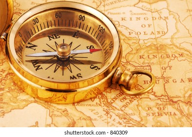 Photo of a Compass on a Map