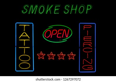 Photo Composite, Neon Signs Smoke Shop and Tattoo