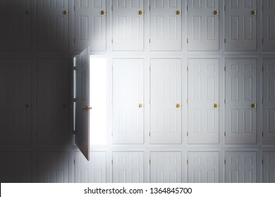 """photo composite of an open door with a bright light on a wall full of doors/ dreams and opportunities """"When one door closes, another opens"""" concept"""