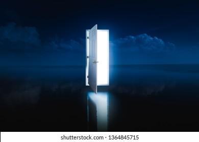 photo composite of an open door with a bright light inside hovering over a lake at night/ dreams and opportunities concept / high contrast image