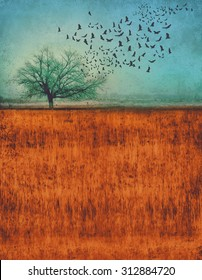 a photo composite of a tree in a field with birds flying out of it with a grunge overlay and toned with a retro vintage instagram filter app or action effect with copy space