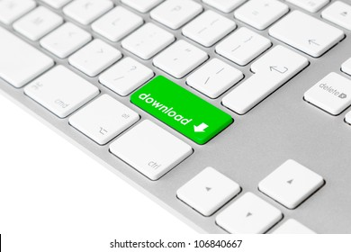 """Photo of a computer keyboard with one green key with the word """"download"""" and the download symbol symbolising file data transfer."""