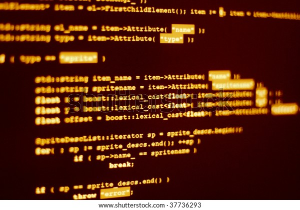 "Photo of computer screen with program code displayed in hacker color. Shallow depth of field places word ""lexical"" in focus"