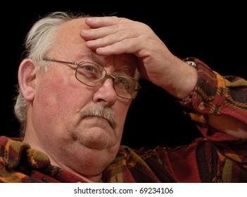 photo confused unwell senior male