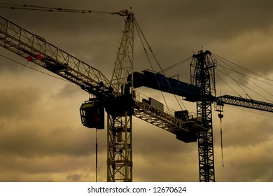 Photo of the construction cranes