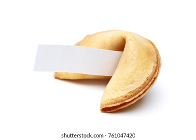 Photo of cookie with wish on empty white background