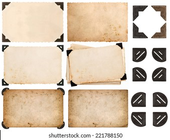 photo corner, old photo card, aged paper isolated on white background