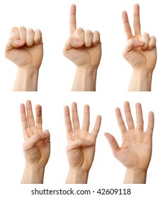 a photo of counting hands with clipping paths